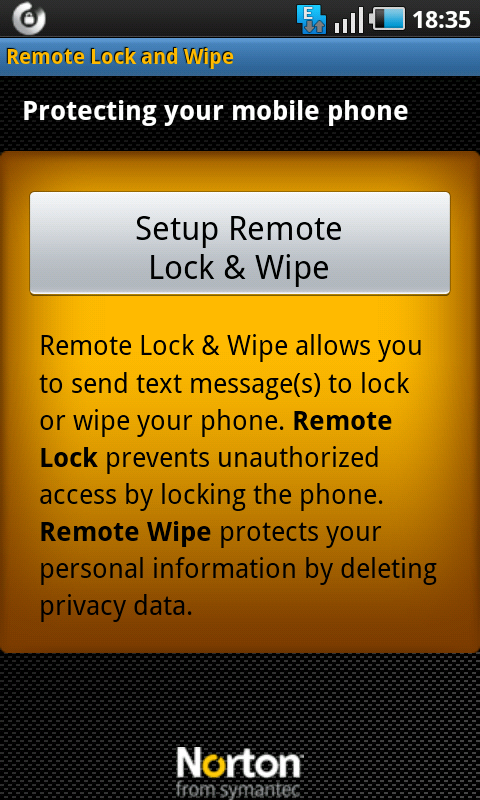 norton setup remote lock android
