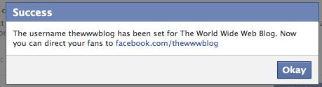 facebook vanity url done