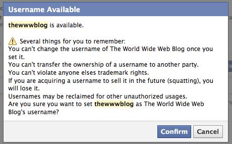 facebook vanity url rules