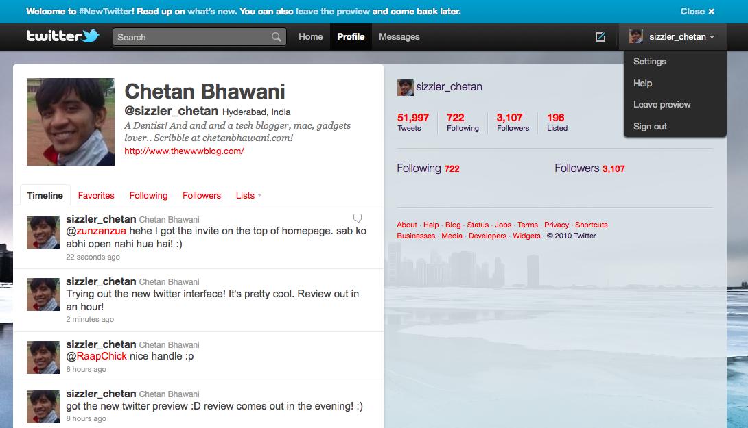 new twitter profile settings
