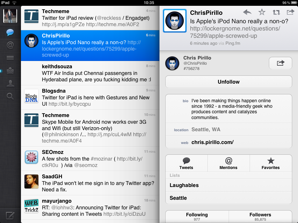 twitter ipad app profile view