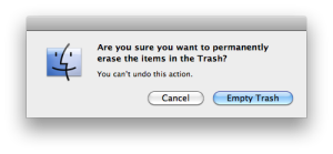 empty the trash dialog box