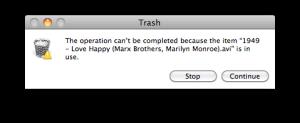 error message while trashing dialog box