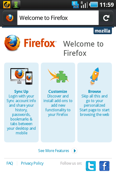firefox android welcome