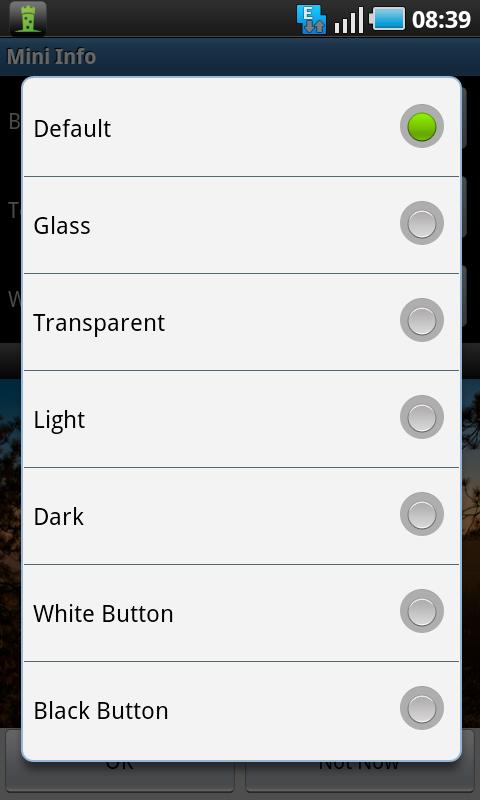 mini info widget colors