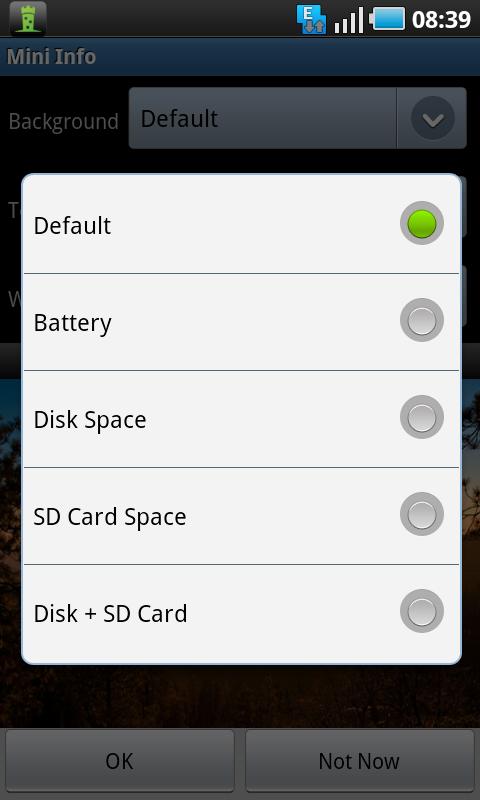 mini info widget options
