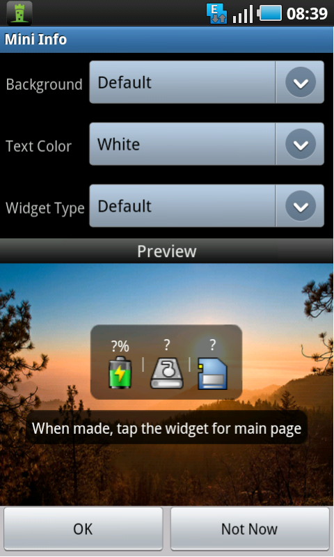 mini info widget setup
