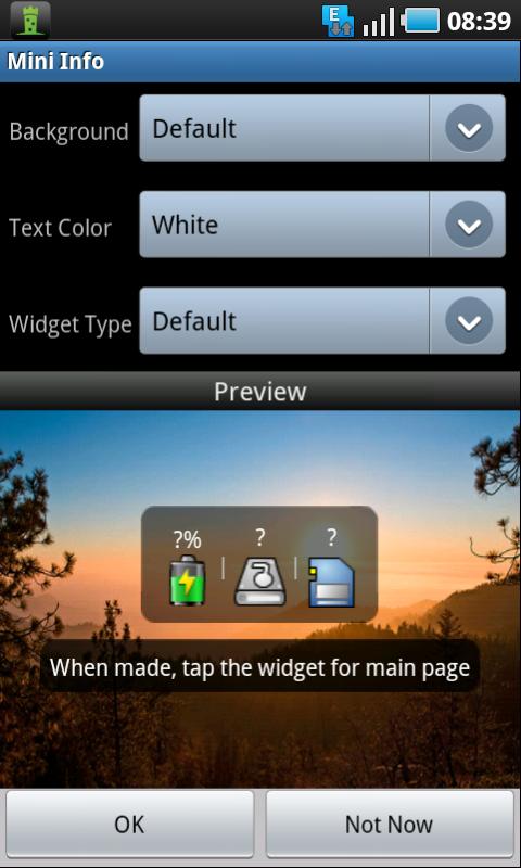 mini info widget setup