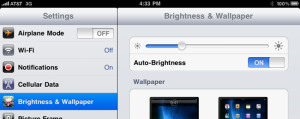 brightness and wallpaper settings