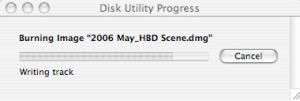 disk writing in progress