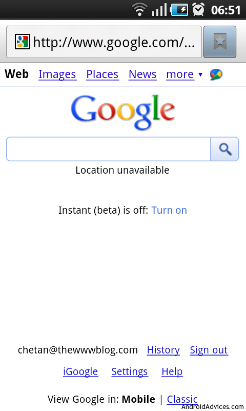google instant android