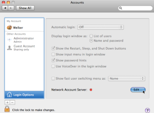 Edit Network Account Settings