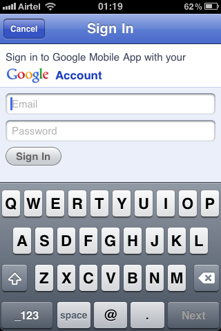 google goggles iphone login gmail