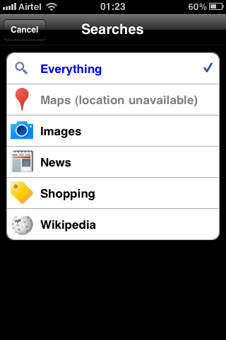 google goggles search settings