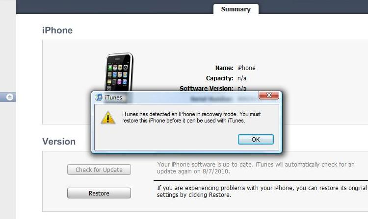 how to put iphone in reconvery mode