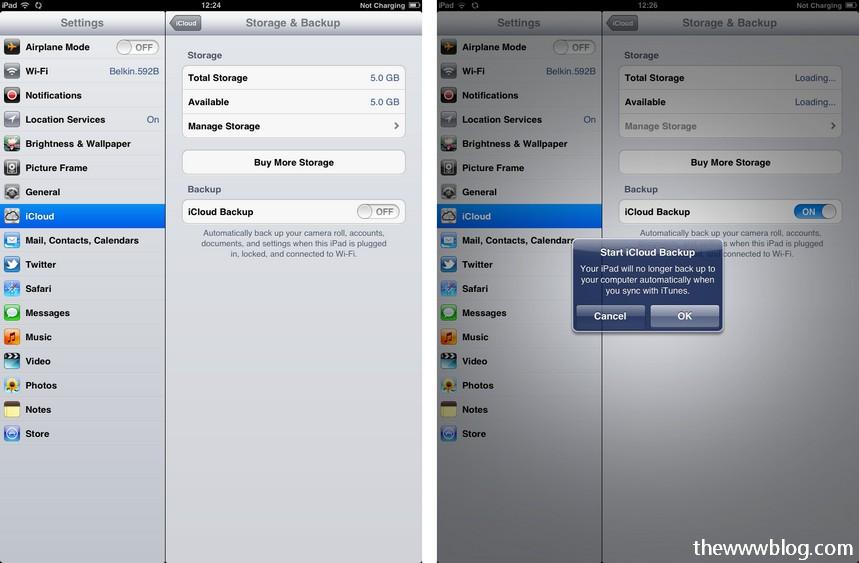 icloud ipad storage and backup
