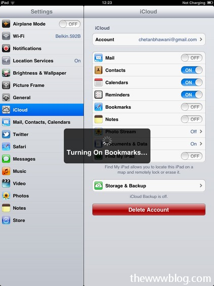 icloud ipad turning on bookmarks 2