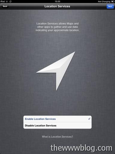 ipad ios 5 enable location services
