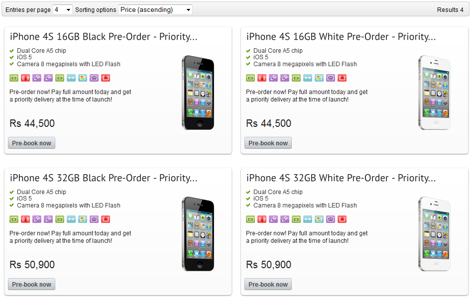 iphone 4s india prices