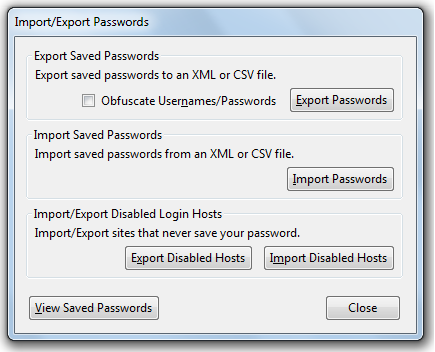 firefox password exporter options