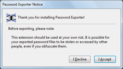 password exporter notice
