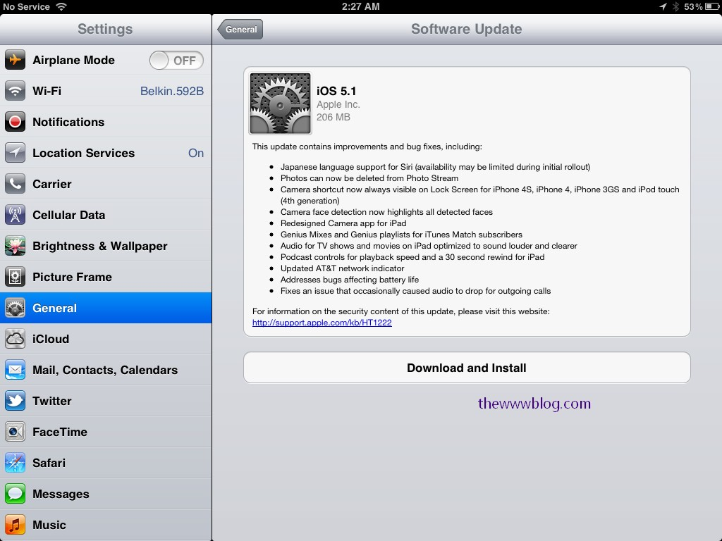 iOS 5.1 update available