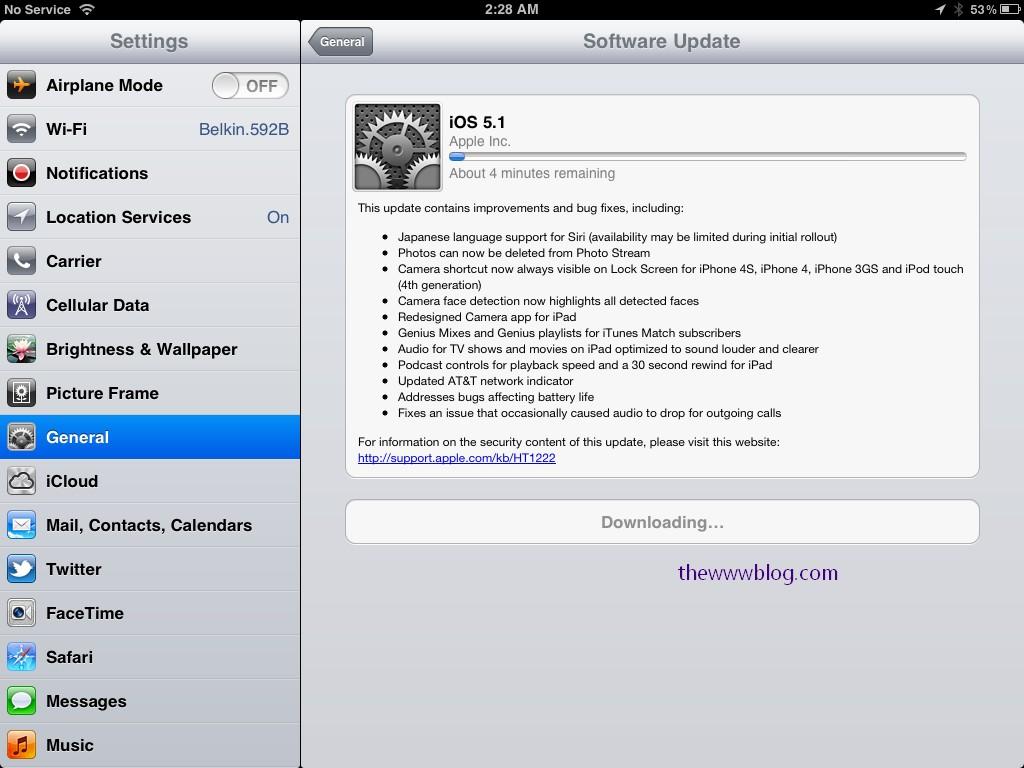 iOS 5.1 update downloading