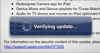 iOS 5.1 verifying update