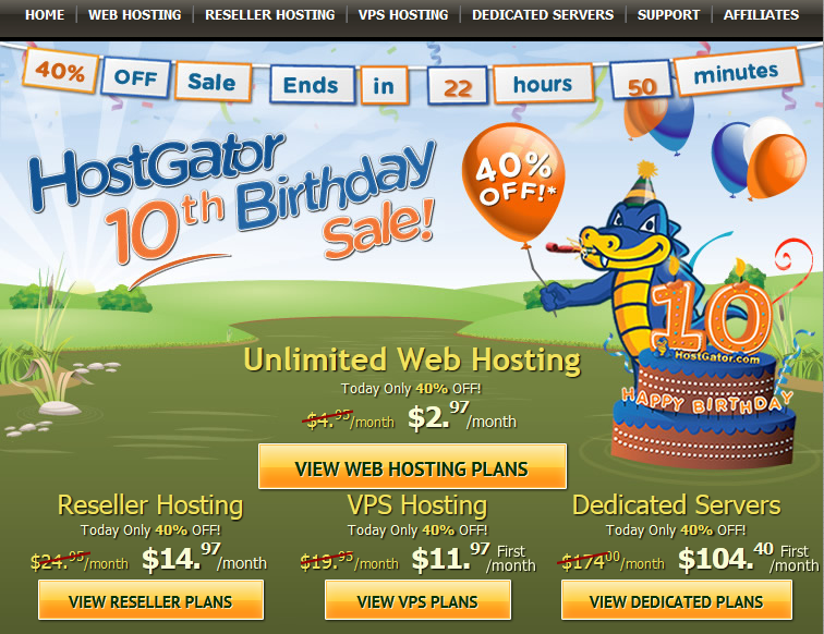 Hostgator 10th Birthday Promotion – 40% Off on all new Hosting Plans for 24 Hours