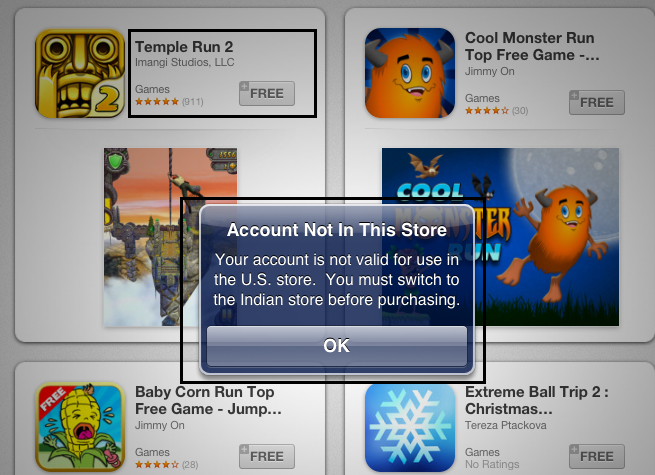 Apple App Store Error Message