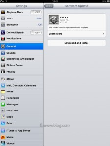 Apple iPad Mini iOS 6.1 Update 2