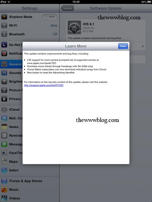 Apple iPad Mini iOS 6.1 Update