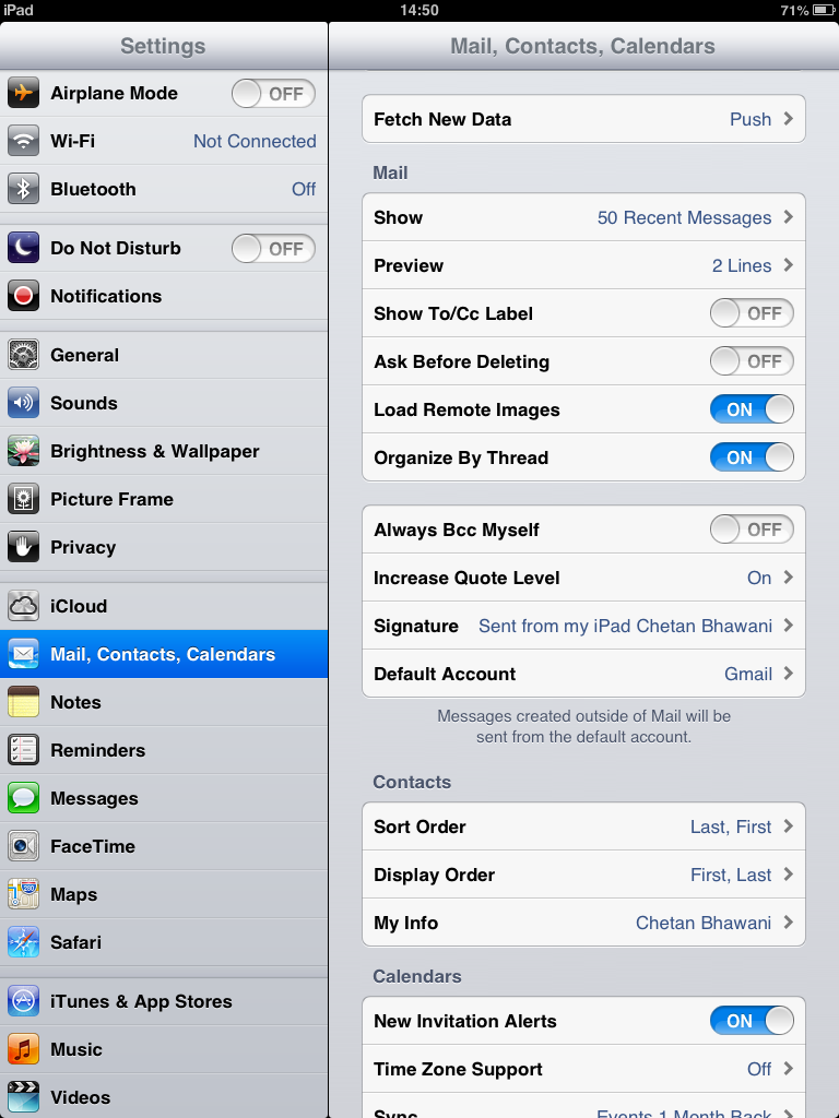 iOS Email Signature Settings