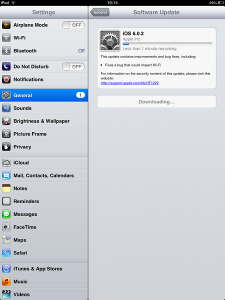 iPad Mini Update Downloading