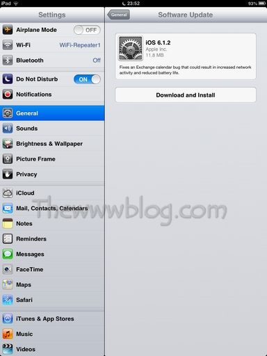 Apple iOS Update Available