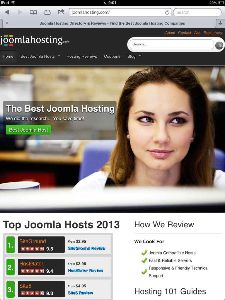 Joomla Hosting iPad