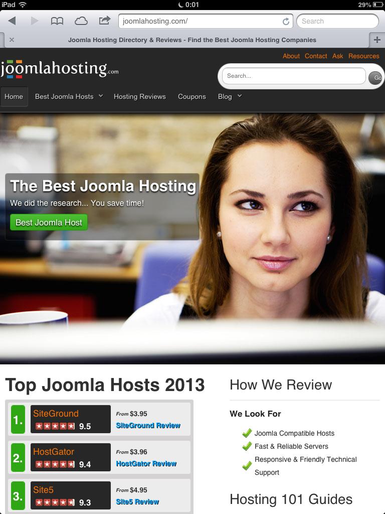 Joomla Hosting iPad