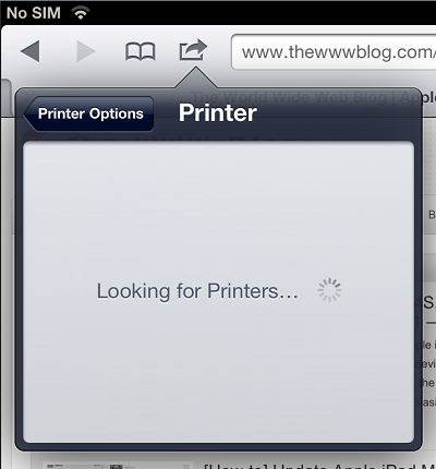 iPad Looking for Printers
