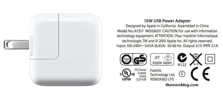 A1357 10W USB Power Adapter for iPhone iPad