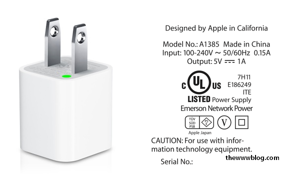 A1385 5W USB Power Adapter for iPhone iPad Mini