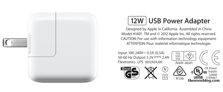 A1401 12W USB Power Adapter for iPhone iPad