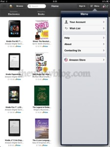 Amazon Windowshop iPad App Menu