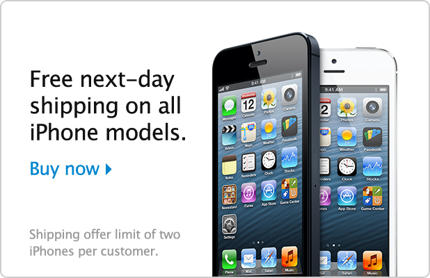 Apple US iPhone Promotion – Free Next Day Shipping, even for Free Apple iPhone 4