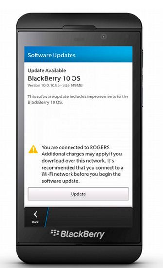 Blackberry 10.0.10.85 update