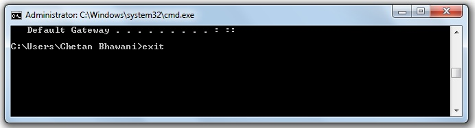 Command prompt exit
