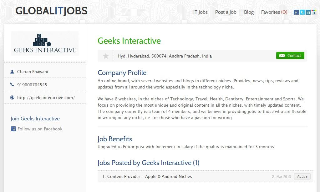 Company Profile GlobalITJobs