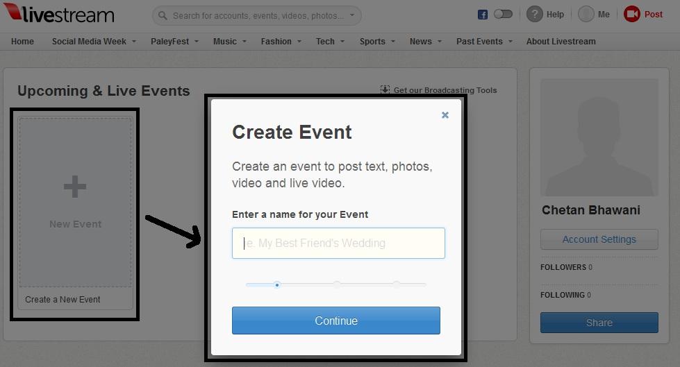 Create event livestream