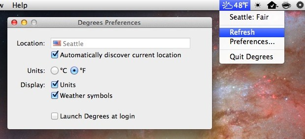 Watch Temperature & Weather on Mac Menu Bar using Degrees Mac App Utility