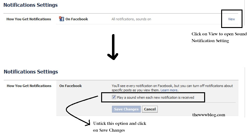 Facebook Sound Notification Settings