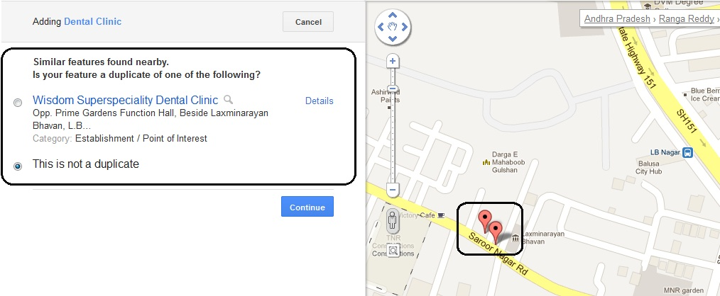 Google Map Maker Similar Features